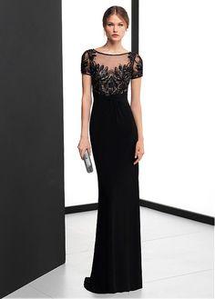 Chic Chiffon Jewel Neckline Short Sleeves Sheath / Column Evening Dress With Beadings