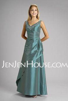 Bridesmaid Dresses - $111.99 - A-Line/Princess V-neck Floor-Length Taffeta Bridesmaid Dresses With Ruffle (007002103) http://jenjenhouse.com/A-line-Princess-V-neck-Floor-length-Taffeta-Bridesmaid-Dresses-With-Ruffle-007002103-g2103