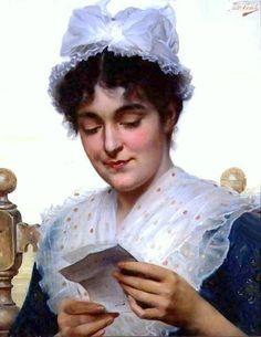 The Letter by Tito Conti, Italian-1842-1924