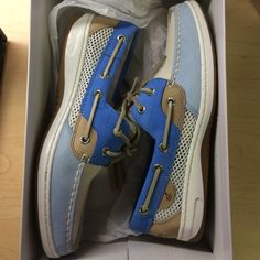 Sperry BlueFish blue white open 37.5 size 7 boat Worn ONE TIME. Size 7, purchased for $85. PayPal and bundles accepted! Come with the box via poshmark! Sperry Top-Sider Shoes