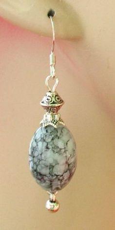 Silver Celtic Marble Effect Earrings