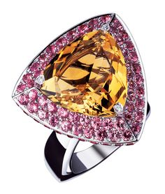 Extase pour Moi ring, by Mauboussin. White gold, citrine, pink sapphires and diamonds. Instagram Mauboussin Singapore: https://instagram.com/p/5_t3gdsJPr/?taken-by=mauboussin_singapore