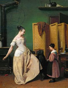 I've long wanted a dressing screen. This one is simple enough to make and mid-century acceptable. Oddly, we just saw and passed one up.   Woman at her Toilet, 1835 (oil on canvas)