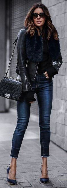 Fur+Leather Jacket+Chanel=My Style!