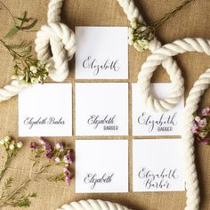 These simple, elegant place cards will add a touch of class to any event! Using smooth white card and your choice of six beautiful calligraphy styles, handwritten cards will make your guests feel very special on your big day. These cards are 'tented' and free standing. Available in