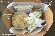 While we will not fill the boxes for our guests, this demonstrates how the salads would be prepackaged, along with other small items so guests can grab them and go!  If this is not too costly, I would like the salads to be in small enough containers so that guests may enjoy more than one