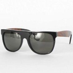 Super Sunglasses - Flat Top Sunglasses In Black/Briar Super. $143.95