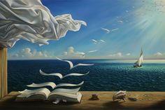 digital fantasy art nature painting sunlight books birds flying surreal poster Print Canvas silk Fabric art Wall Decor