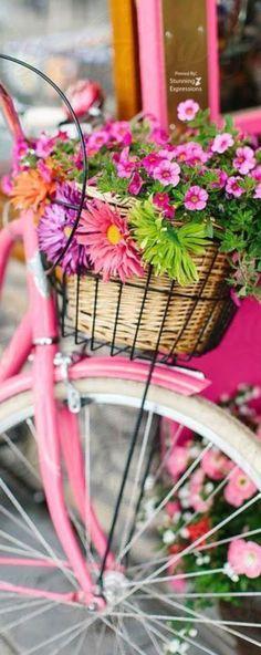 Bicycle Decor, Bicycle Art, Pretty In Pink, Beautiful Flowers, Garden Art, Garden Ideas, Spring Time, Flower Arrangements, Creative