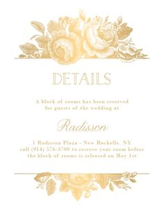 All Foil Vintage Floral Wedding Information Card | Paper Source