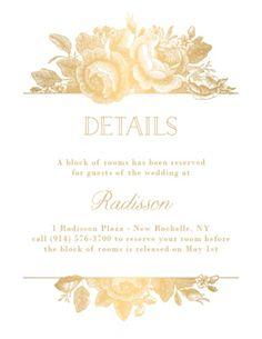All Foil Vintage Floral Wedding Information Card | Paper Source