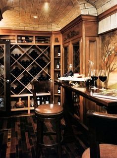 A different twist on the use of a formal dining room - turn it into a wine cellar and entertaining area.