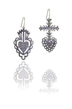 Hammered Silver Mismatched Mexican Sacred Heart Earrings