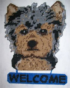 Yorkshire Terrier Welcome Sign-Plastic canvas Plastic-Canvas-Kits. Plastic Canvas Crafts, Plastic Canvas Patterns, Perler Patterns, Crochet Patterns, Bear Crafts, Plastic Animals, Yorkshire Terrier, Yorkie, Needlepoint