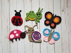 A Bugs Life Applique Pack- Crochet Pattern Only- Snail- Butterflies- Grasshopper- Ladybugs- Crochet - That's It Crochet Applique Patterns Free, Crochet Motif, Crochet Flowers, Crochet Hooks, Embroidery Patterns, Hand Embroidery, Knitting Patterns, Crochet Appliques, Crochet Bear