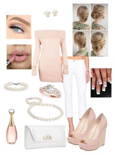 """Blushing Pearls"" by emalenf ❤ liked on Polyvore featuring J Brand, Alloy Apparel, Jessica Simpson, Allurez, Blue Nile, Christian Dior, Christian Louboutin, outfit, white and Pink"