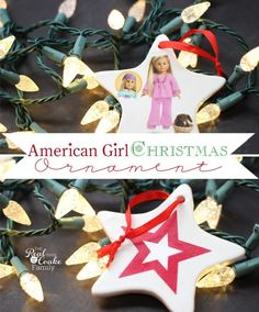 Such a cute American Girl Doll craft to make Homemade Christmas Ornaments. It is the perfect easy and inexpensive craft to make with or for my American Girl Doll fan. #RealCoake #Homemade #Christmas #Ornament #AmericanGirlDoll #Crafts #AGDoll #ChristmasOrnament #ChristmasDecorations