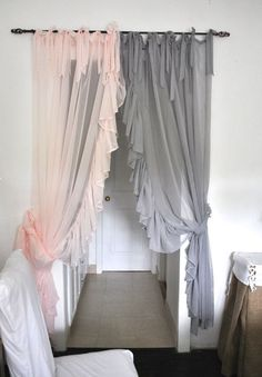 Ruffle Chiffon Curtain- Ruffle Chiffon Curtain- Side Ruffle Chiffon Curtain Side Ruffle Chiffon Curtain by PaulaAndErika on Etsy Reminds me of a beautiful gown White Bow Curtain Tie Backs. TWO Decorative Tiebacks Curtain Cortinas Shabby Chic, Cortinas Boho, Shabby Chic Curtains, Girls Bedroom Curtains, Home Curtains, Bedroom Decor, Bedroom Rustic, Bedroom Ideas, Kitchen Curtains