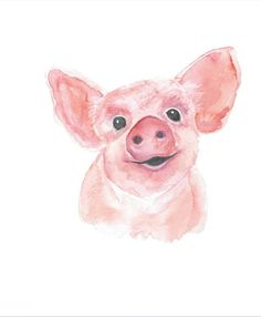 Watercolor Painting of Piglet Pig Wall Art Baby Animal Nursery Decor Gift for her Pig Lover Gift Original Watercolor Painting Pig Decor Comic Animals Watercolor, Watercolor Paintings, Baby Animal Nursery, Baby Animals, Animal Paintings, Animal Drawings, Pig Art, Baby Pigs, Baby Wall Art