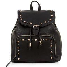 Black Studded Buckle Strap Soft Backpack featuring polyvore, fashion, bags, backpacks, black, black bag, faux leather backpack, backpacks bags, studded bag and vegan bags