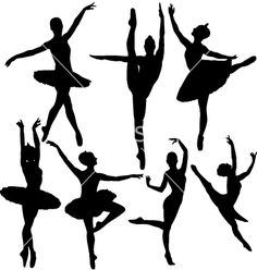 Ballet Prima Ballerina's Silhouettes (lots of poses), short Tutu's Template…