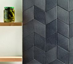 Splashback tile options - Tex by Mutina + Raw Edges Black