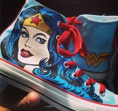 Wonder Woman Shoes Painted Custom Converse For от catinthehatetsy