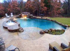 Walk in pool.would love this someday :) Walk in pool.would love this someday :) Backyard Layout, Backyard Pool Designs, Small Backyard Pools, Pool Landscaping, Backyard Ideas, Backyard Playground, Small Backyards, Pool Decks, Outdoor Ideas