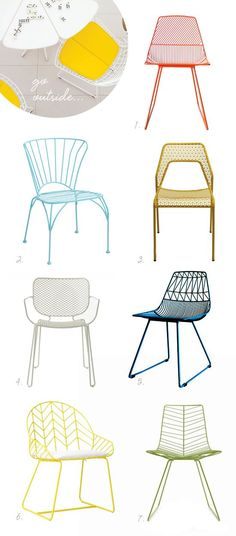 Wire chairs: 1 Ethel chair // 2 Cadiz chair // 3 Hot Mesh chair // 4 Emu Ivy chair // 5 Lucy chair // 6 Bend chair // 7 Leaf chair
