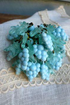 Celluloid Dangle Grape Brooch Aqua