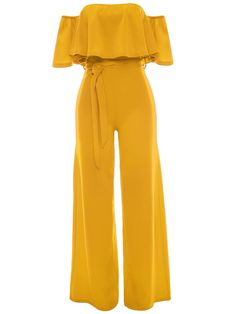 flounce plain long date nightout summer jumpsuits, Off Shoulder Flounce Plain Wide-Leg Jumpsuit Yellow Jumpsuit, Ruffle Jumpsuit, Jumpsuit With Sleeves, Playsuit Romper, Ruffle Romper, Off Shoulder Jumpsuit, Jumpsuits For Women, Jumpsuits And Rompers, Playsuits