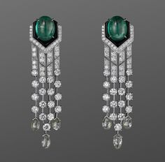 Cartier Cabochon Emeralds, Diamonds, and Platinum Earrings