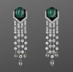 Cartier Cabochon Emeralds, Diamonds, and Platinum Earrings