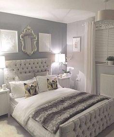 Silver bedroom decor, master bedroom grey, grey and white room, grey room d Grey Bedroom Design, Gray Bedroom, Home Decor Bedroom, Bedroom Designs, Silver And Grey Bedroom, Bedroom Small, Silver Bedroom Decor, Budget Bedroom, Bed Design