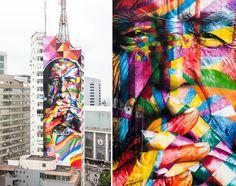 """Grafite gigante do street-artist brasileiro Eduardo Kobra presta tributo a Oscar Niemeyer, falecido em dezembro de 2012 aos 104 anos de idade. O mural cobre uma das """"faces"""" de um arranha-céu da Avenida Paulista, em São Paulo, e tem 52 metros de altura e 16 de comprimento.   http://eduardokobra.com/"""