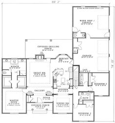 With this house plan guests will marvel at the gallery lined with built-in bookshelves and the massive great room with elegant fireplace and high ceilings throughout. A stylish French door allows the dinner party to transition outside to the vast covered grilling porch. When the party is over, you can relax in the beautiful breakfast bay before retiring to the master suite enhanced by his and her walk-in closets and oversized whirlpool