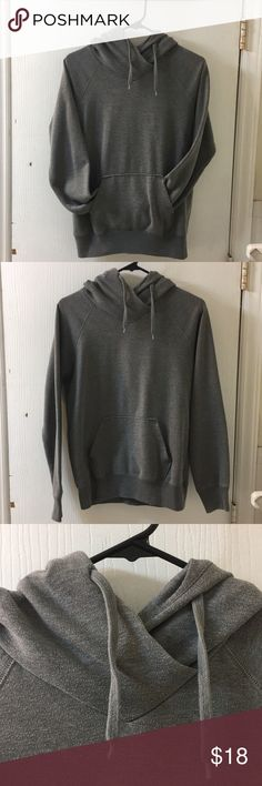 Basic grey pullover hoodie, size 12 Basic grey pullover hoodie, size 12 (although it fits more like a small/medium). Super comfortable and goes with everything! H&M Tops Sweatshirts & Hoodies