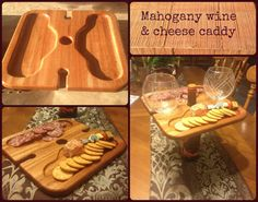 New wine and cheese caddy design finished yesterday... Hold your wine bottle, cheese tray and 2 glasses with one hand to get to your table!! David crafted from African mahogany so the wood grain is beautiful and durable.  #Eventrist #winecaddy #cheeseboard #africanMahogany #wood