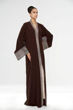 Arabesque kimono cut abaya in light crepe satin with graphic taffetas embellishment. ~ Judith Duriez