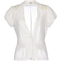 Molly Bracken Blazer ($81) ❤ liked on Polyvore featuring outerwear, jackets, blazers, white, blazer jacket, white jacket, collar jacket, white blazer and short-sleeve blazers