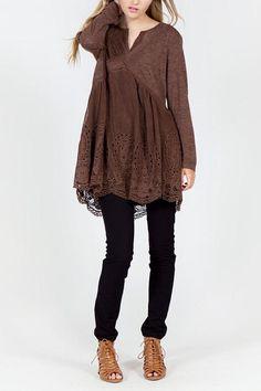 Monoreno Peasant Knit Tunic