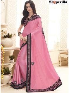 Baby Pink Colour Satin & Chiffon Party Wear Saree-20225