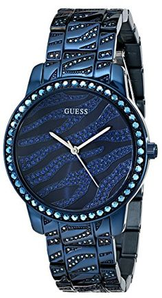 GUESS Women's U0502L4 Iconic Blue Crystal Zebra Patterned Watch GUESS
