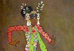 Tyra Kleen: Illustrazione per Tempeldanser och musikinstrument på Bali… Musical Instruments, Panda, Bali, Disney Characters, Fictional Characters, Trumpet, Corona, Peppa Pig, Children Garden