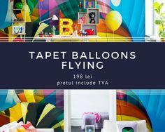 Baloane cu aer cald, jucause in culori vibrante aceasta este reteta pentru un tapet curajos! Te poarta in aventuri incitante, cu vederi scumpe si frumoase! Balloons, Design, Home Decor, Globes, Decoration Home, Room Decor, Balloon, Home Interior Design