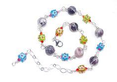 Glass Cube Necklace  Earth Tone Jasper Gemstone by BeadedDesygns