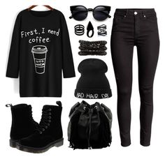 """""""Late Nights, Early Mornings"""" by emeraldfashionqueen on Polyvore featuring Dr. Martens, Steve Madden, Repossi, L'Artisan Créateur, Eva Fehren, Isabel Marant, women's clothing, women, female and woman"""