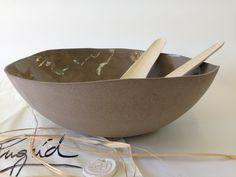large salad ceramic bowl grey bowl, Open bowl Salad bowl ,Elegant modern fruit bowl ,Gift for her,Ceramic serving bowl for vegeterian, Bowl by IngridDebardCeramics on Etsy