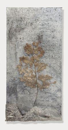 paintedout:Anselm Kiefer | Geheimnis der Farne, 2007, Fern, hair, clay, acrylic, resin, emulsion on lead on wood, cm 285x140