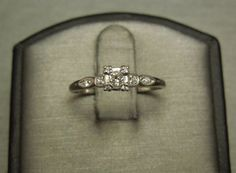 Antique Art Deco Estate C1930 Platinum Square 0.34TCW F VVS1 Colorless Flawless European cut Diamond Engagement Ring